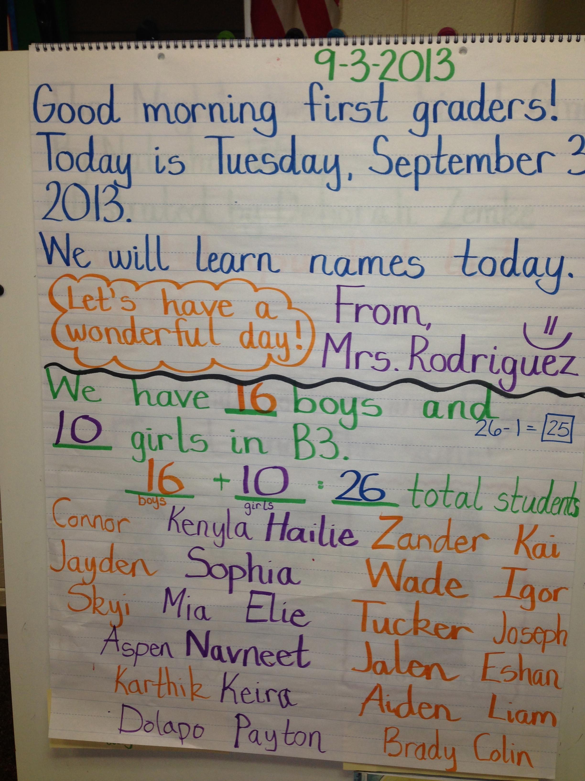 First Day Mrs Rodriguezs First Grade Class Blog